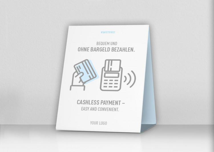 Thekenaufsteller 20 x 25 cm | Icon - Cashless (de/en)