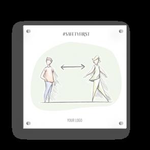 Schild 15 x 15 cm   Handzeichnung - Abstand