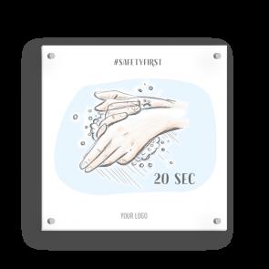 Schild 15 x 15 cm   Handzeichnung - Hände waschen