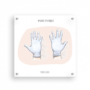 Schild 15 x 15 cm   Handzeichnung - Handschuhe