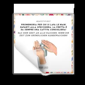 Aufkleber 15 x 15 cm | Blume - Hände waschen (de/it)