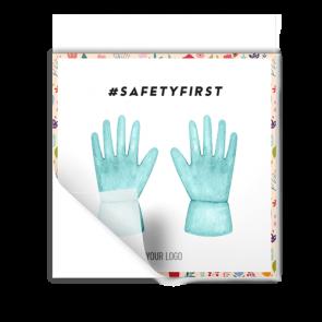 Aufkleber 15 x 15 cm | Blume - Handschuhe