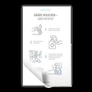 Aufkleber 15 x 25 cm | Icon - Anleitung Händewaschen (de)
