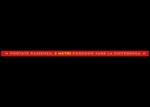 Bodenaufkleber 150 x 5 cm | Typo »Portate pazienza, 2 metri possono fare la differenza«