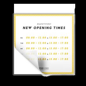 Aufkleber 15 x 15 cm | gelb - Öffnungszeiten (en)