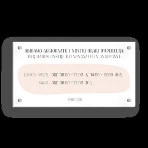 Schild 21 x 11 cm   Handzeichnung - Öffnungszeiten (de/it)