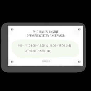 Schild 21 x 11 cm   Handzeichnung - Öffnungszeiten (de)
