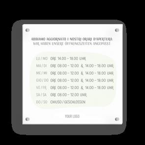 Schild 15 x 15 cm   Handzeichnung - Öffnungszeiten (de/it)