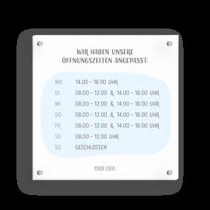 Schild 15 x 15 cm   Handzeichnung - Öffnungszeiten (de)