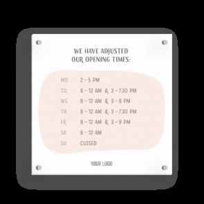 Schild 15 x 15 cm   Handzeichnung - Öffnungszeiten (en)