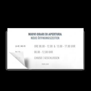 Aufkleber 21 x 11 cm | Icon - Öffnungszeiten (de/it)