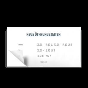 Aufkleber 21 x 11 cm | Icon - Öffnungszeiten (de)