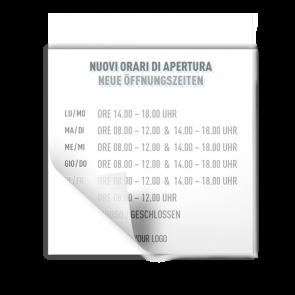 Aufkleber 15 x 15 cm | Icon - Öffnungszeiten (de/it)