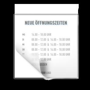 Aufkleber 15 x 15 cm | Icon - Öffnungszeiten (de)