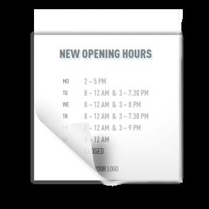 Aufkleber 15 x 15 cm | Icon - Öffnungszeiten (en)
