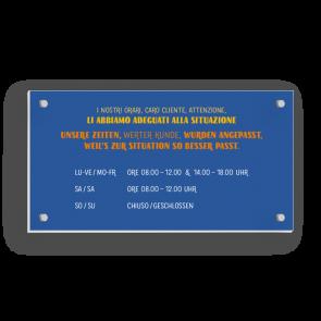 Schild 21 x 11 cm | Typo - Öffnungszeiten (de/it)