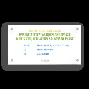 Schild 21 x 11 cm | Typo - Öffnungszeiten (de)