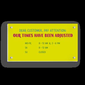 Schild 21 x 11 cm | Typo - Öffnungszeiten (en)