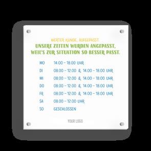 Schild 15 x 15 cm | Typo - Öffnungszeiten (de)