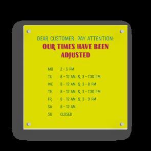 Schild 15 x 15 cm | Typo - Öffnungszeiten (en)