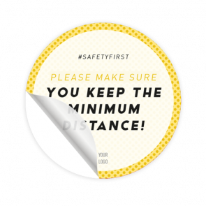 Bodenaufkleber Ø 30 cm | gelb »Please make sure you keep the minimum distance!«