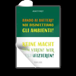 Aufkleber 14,8 x 21 | Typo »Keine Macht den Viren! Wir desinfizieren!« (it/de)