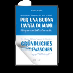 Aufkleber 14,8 x 21 | Typo »Gründliches Händewaschen dauert 2 Happy Birthdays!« (it/de)