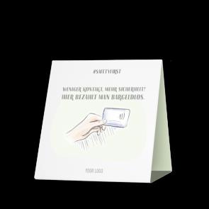 Thekenaufsteller 15 x 15 cm   Handzeichnung - Cashless (de)